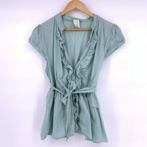 Anthropologie Odille Size 14 Ruffled Blouse Blue